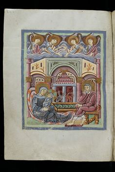 Christmas scene in a 11th century manuscript. I just thought it was pretty, especially the color scheme.