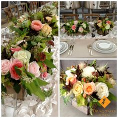 Elegant and fun party flowers with garden roses, dahlias and grasses from June Events, Garden Roses, Dahlias, Grasses, Wine Country, Northern California, Best Part Of Me, Table Decorations, Elegant