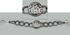 Antique Celtic knot silver button beaded bracelet #ButtonDesignCo #jewelry #bracelet #button