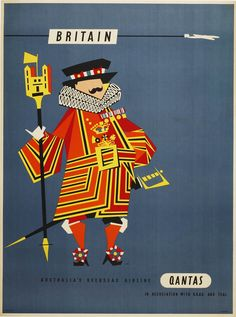 Britain BOAC Qantas TEAL Harry Rogers Beefeater, - original vintage poster listed on Retro Poster, Poster Ads, Vintage Travel Posters, Party Vintage, Vintage Ads, Vintage Airline, Travel Ads, Airline Travel, Travel Photos