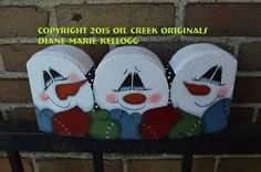 Items similar to 15014 Mitten Factory Snowman Edger Pattern Packet Oil Creek Originals on Etsy Painted Bricks Crafts, Brick Crafts, Cement Crafts, Stone Crafts, Wood Crafts, Cement Pavers, Painted Pavers, Brick Pavers, Painted Rocks