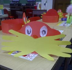Lorax hat--mustache made by tracing hand on folded yellow paper