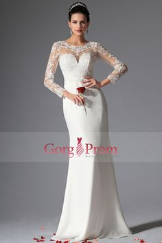 2014 Full Sleeves Scoop Mermaid Wedding Dresses With Applique $ 190.99 GPPDS5DF7F - GorgProm.com for mobile