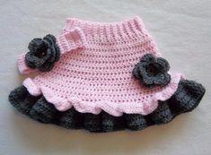 Crochet Baby Ruffle Flower Skirt Headband Set