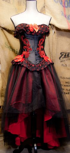 Hey, I found this really awesome Etsy listing at http://www.etsy.com/listing/124612593/corset-tulle-gothic-prom-dress-red-black
