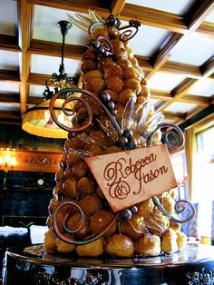 Traditional French wedding cake - piece montee or croquembouche
