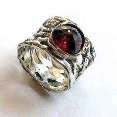 Unique engagement ring for her, two tone ring, gypsy, silver engagement ring, garnet ring, boho ring, wide silver ring - Endless love R2153
