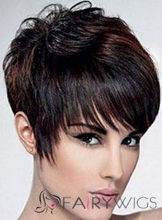 Best Short Straight Black Indian Remy Hair Wigs 8 Inch