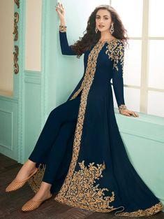 Look stylish with Delightful Blue Color Georgette Designer Anarkali Salwar Suit and with a wide range of silk, cotton, satin, linen anarkali punjabi salwar Anarkali Tops, Long Anarkali, Anarkali Dress, Anarkali Suits, Churidar Suits, Salwar Kameez, Lehenga Suit, Party Wear Lehenga, Lehenga Choli