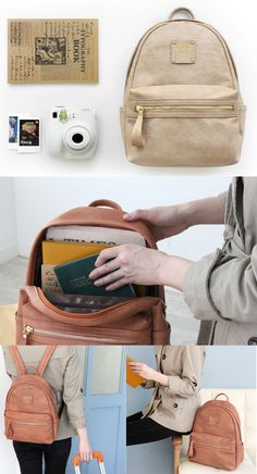 This mini leather backpack is perfect for travel…carry everything you need with you for the day with this cute accessory. With a cushioned tablet pocket built-in, also it's also a great bag to bring on the airplane! 5 additional compartments included to store everything else.  mochithings.com ♥
