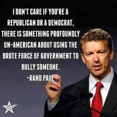 Kentucky Senator Rand Paul @Ginos Place:Like the IRS the DOJ & Home Land Security?!Why has the republican majority not arrested & jailed Obama yet?!?!?!?!