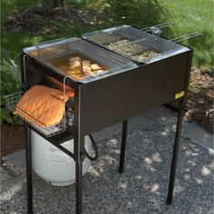 kitchener triple basket deep fryer used kitchen cabinets cooking oil picnic parties and three legs are removable for easy transport creates btu quick frying capacity is great large batches