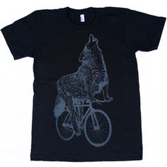 Wolf On A Bike Tee Black now featured on Fab.