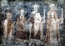 Yaroslav the Wise - Eleventh-century fresco of St. Sophia Cathedral in Kiev representing the daughters of Yaroslav I, with Anna probably being the youngest. Other daughters were Anastasia, wife of Andrew I of Hungary; Elizabeth, wife of Harald III of Norway; and possibly Agatha, wife of Edward the Exile.