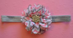 Pink and Grey Chevron Ballerina Flower on Grey Elastic Headband for Baby Girl Toddler or Adult