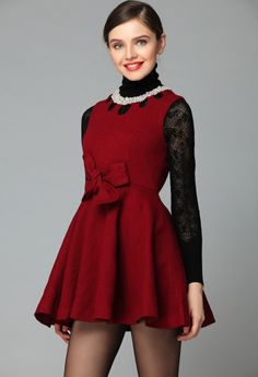 Red Sleeveless Hollow Bow Pleated Dress