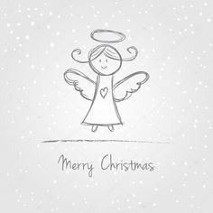 Illustration of christmas angel with snow, doodle style christmas angels Illustration Christmas Angel Snow Doodle Style Stock Vector (Royalty Free) 155466926 Simple Christmas, Winter Christmas, Handmade Christmas, Watercolor Christmas Cards, Christmas Drawing, Christmas Doodles, Christmas Angels, Angel Drawing Easy, Engel Illustration