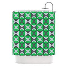 """Empire Ruhl """"Silver and Green Abstract"""" Green Black Shower Curtain 