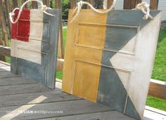 what a fun idea.... nautical signal flag art...made from old doors.  by Leone Design...maybe with American Flag?