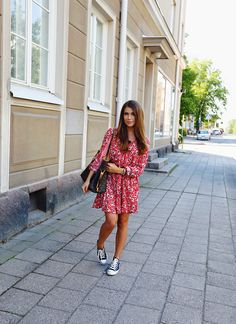 girly dress + sneakers