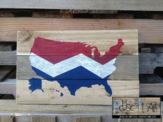 America with Chevron Design Distressed Wood Sign 17 by ReUseItArt, $35.00