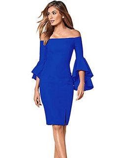 6ee707c97d7 Vfemage Womens Flare Sleeve Sexy Off Shoulder Cocktail Party Bodycon Dress   Material  br   Orange Blue White Red Black Blue White lining ...