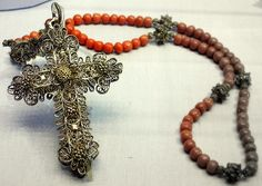 Six decades rosary. Likely from Bavaria, Germany. Usually made in silver filigree. Uniquely, this one does seem like other ones with enameled crucifix image.