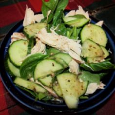 Rotisserie chicken, baby spinach, cucumbers and light Cardini's light Greek dressing. On full lean and green.
