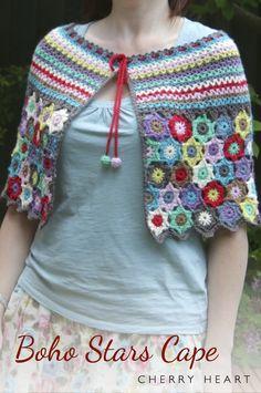 Cherry Heart:  Boho Stars Cape. Crochet pattern on Ravelry