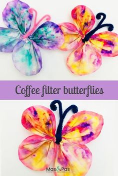 How pretty are these butterflies. Use coffee filter papers to create beautiful tie die colours for the wings. A lovely craft for kids crafts for kids Coffee filter butterflies Spring Crafts For Kids, Art For Kids, Toddler Summer Crafts, At Home Crafts For Kids, Painting Crafts For Kids, Crafts For Girls, Craft Activities, Preschool Crafts, Summer Activities