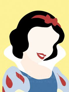 Snow White 8x10 Minimalist Poster by TintsShadesFineArt on Etsy