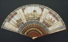 >y< c1780 - Grand Tour fan with scenes from Italy