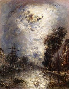 The Interior of the Port at Rotterdam, Effect of Moonlight Johan-Berthold Jongkind - 1875