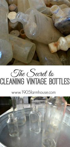 The secret to cleaning vintage narrow neck bottles using an inexpensive househol. The secret to cleaning vintage narrow neck bottles using an inexpensive househol… The secret to cleaning vintage narrow neck bottles using an inexpensive household product Antique Glass Bottles, Vintage Bottles, Bottles And Jars, Vintage Perfume, Perfume Bottles, Household Cleaning Tips, House Cleaning Tips, Cleaning Hacks, Cleaning Recipes