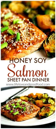 A Flavorful Weeknight Meal Of Asian-Inspired Sweet, Flaky Salmon With Crisp Roasted Brussel Sprouts And Butternut Squash. You'll Love This Good-For-You, Easy-To-Prepare Recipe Via Sheilathigpen Soy Salmon Recipe, Baked Salmon Recipes, Fish Recipes, Seafood Recipes, Asian Recipes, Asian Salmon, Soy Honey Salmon, Sheet Pan Suppers, Vegetables
