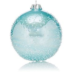Winward Ice-Effect Pearl Glass Ball Ornament ($12) ❤ liked on Polyvore featuring home, home decor, holiday decorations, christmas, blue, glass ball christmas ornaments, glass ball ornaments, glass globe ornament, glass home decor and christmas holiday decorations