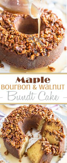Soaked in a warm, boozy maple bourbon sauce, topped with sticky, caramelized walnuts, this Maple Bourbon Walnut Cake is an experience you won't soon forget! Bunt Cakes, Cupcake Cakes, Cupcakes, Liquor Cake, Caramelized Walnuts, Bourbon Cake, Cake Candy, Alcohol Cake, Drinks Alcohol