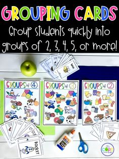 Group your students in groups of 2, 3, 4, 5, or more with these printable grouping cards.