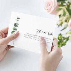 Eucalyptus Greenery Wedding Details Card Silver Leaf Wedding