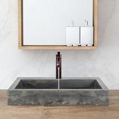 Belzoni Rectangular Cast Concrete Vessel Sink - Natural – Magnus Home Products Concrete Bathroom, Vessel Sink Bathroom, Vanity Sink, Bathroom Vanities, Gray Vanity, Basin Sink, Remodel Bathroom, Vanity Units, Bathroom Fixtures