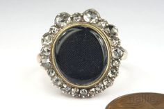 LOVELY ANTIQUE GOLD SILVER ROSE CUT DIAMOND LOCKET RING c1870 NO RES