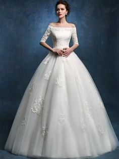 Cheap Wedding Dresses, Buy Directly from China Suppliers:New Arrival Boat Neck Tulle Lace Up Long Wedding Dresses 2018 Appliques Ball Gown Half Sleeves Wedding Gowns Puffy Wedding Dresses, 2016 Wedding Dresses, Cheap Wedding Dress, Wedding Gowns, Dresses 2016, Prom Gowns, Bride Dresses, Prom Dress, Lace Wedding