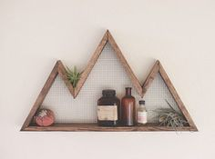 Decorate and utilize your wall space with these unique and eye catching mountain shelves. Made from 100% American Grown Hemlock, these rustic wall