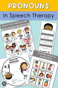 These pronoun speech therapy games and activities are perfect to use in elementary and preschool classrooms. They will help teach … Speech Language Therapy, Speech Therapy Activities, Speech And Language, Language Arts, Pronoun Activities, Language Activities, Receptive Language, Help Teaching, Worksheets