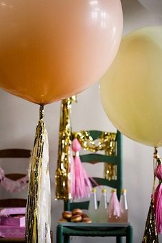 balloons with tassels.