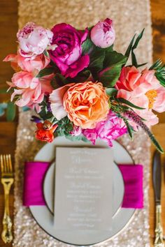 Fuchsia, bright pink, coral, gold wedding centerpiece Hey Gorgeous Events, Bradley James Photography, Trouvaille Workshop