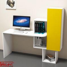Masa de Studiu cu Dulap Acelya  -  Alb/Galben Study Desk, Computer, Timeless Design, Corner Desk, Living Spaces, Shelves, Contemporary, Yellow, Color