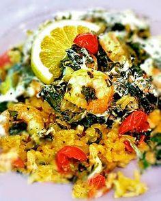 Garlicky Shrimp and Spinach Bake recipe