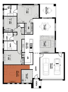 Lincoln 25 Floor Plan Remove W/C and close access to master from dining. Change theater to studio Home Builders Melbourne, New Home Builders, Best House Plans, Small House Plans, San Patrick, Room Layouts, House Deck, Pretty Room, New Home Designs