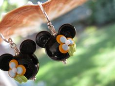 Luau Mango Mouse Lampwork Glass Beads Sterling Silver Princess Minnie Earrings. I need a pair of these.
